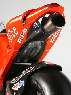 Detail of the new Ducati Desmosedici GP9
