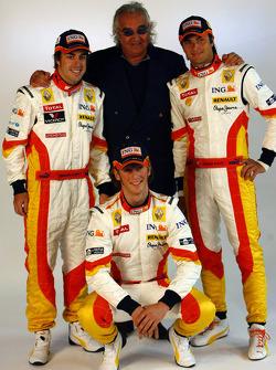 Fernando Alonso, Flavio Briatore and Nelson A. Piquet