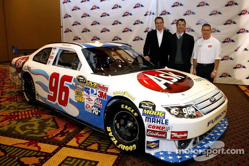 Bobby Labonte, driver of the No. 96 Ask.com Ford poses along side Ask.com CEO Jim Safka, and Hall of Fame Racing co-owner Tom Garfinkel