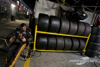 Penske Racing team member gets some rest