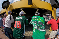 Fans watch tech inspection