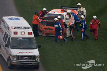 Joey Logano, Joe Gibbs Racing Toyota out of his car after his crash