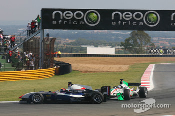 Nicolas Prost, driver of A1 Team France gets hit by Salvador Duran, driver of A1 Team Mexico