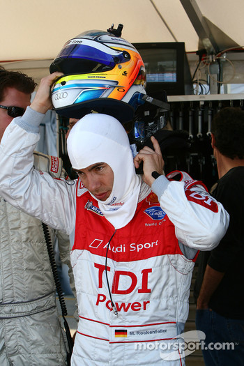 Mike Rockenfeller prepares to get into the car