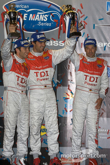 P1 podium: third place Mike Rockenfeller, Lucas Luhr and Marco Werner