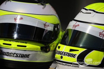 The helmets of Rubens Barrichello, Brawn GP and Jenson Button, Brawn GP
