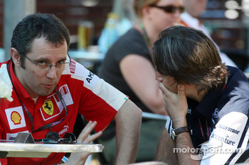 Stefano Domenicali, Scuderia Ferrari, Sporting Director talks with Adam Parr, Williams F1 Team