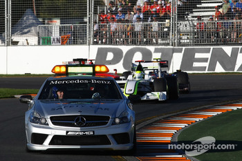 Safety car ahead of Jenson Button, Brawn GP, BGP001, BGP 001