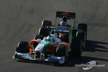 Giancarlo Fisichella, Force India F1 Team, and Sébastien Bourdais, Scuderia Toro Rosso