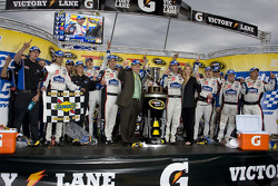 Victory lane: race winner Jimmie Johnson, Hendrick Motorsports Chevrolet, celebrates with his team