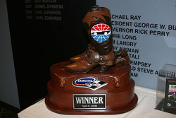Victory lane: winner's trophy for the Samsung 500