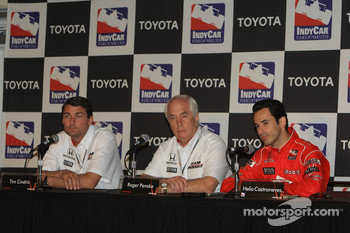 Press conference: Helio Castroneves, Team Penske, with Tim Cindric and Roger Penske