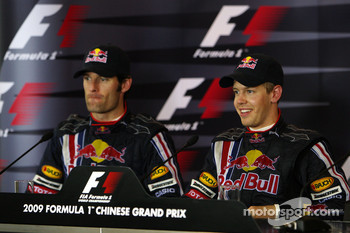 FIA press conference: race winner Sebastian Vettel, Red Bull Racing, second place Mark Webber, Red Bull Racing