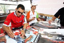 Gianni Morbidelli and Vitantonio Liuzzi UP Team sign autographs for the fans