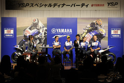 Yamaha R1 launch in Tokyo: Valentino Rossi, Fiat Yamaha Team and Jorge Lorenzo, Fiat Yamaha Team on stage