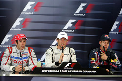 FIA press conference: race winner Jenson Button, Brawn GP, second place Sebastian Vettel, Red Bull Racing, third place Jarno Trulli, Toyota Racing