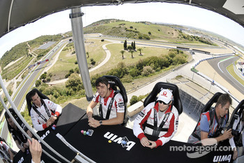 Mika Kallio, Pramac Racing, Niccolo Canepa, Pramac Racing play poker high above the track