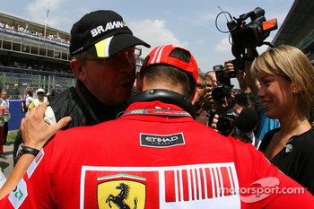 Michael Schumacher, Test Driver, Scuderia Ferrari and Ross Brawn, Brawn GP, Team Principal