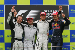 Podium: race winner Jenson Button, Brawn GP, second place Rubens Barrichello, Brawn GP, third place Mark Webber, Red Bull Racing, and Matt Deane