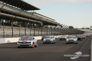 Chevrolet Camaros take a lap around IMS