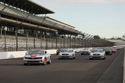 Chevrolet Camaros take a lap around IMS