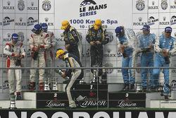 LMGT1 podium: class winners Luc Alphand, Patrice Goueslard, Yann Clairay; second place Peter Kox, Filip Salaquarda, Erik Janis; third place Lukas Lichtner-Hoyer, Thomas Gruber, Alex Müller
