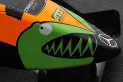 Nose of the car of Sam Bird, Mücke Motorsport, Dallara F308 Mercedes