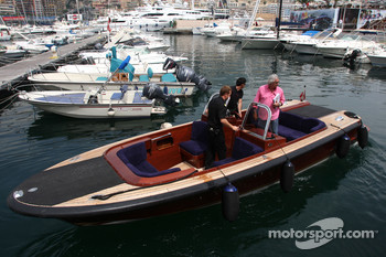 Flavio Briatore, Renault F1 Team, Team Chief, Managing Director goes to the FOTA meeting on his yacht