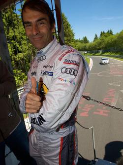 Drivers parade around the track: Emanuele Pirro