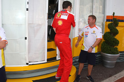 Stefano Domenicali, Scuderia Ferrari, Sporting Director leaves a meeting of team bosses held in the Renault f1 motorhome