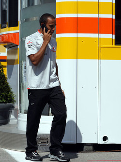 A big meeting of all Team Principles and all F1 drivers is held in the Toyota motorhome: Lewis Hamilton, McLaren Mercedes