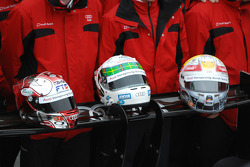 Helmets of Rinaldo Capello, Allan McNish and Tom Kristensen
