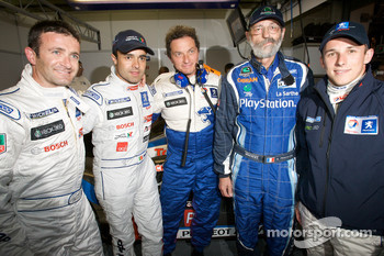 Nicolas Minassian, Pedro Lamy, Henri Pescarolo and Christian Klien pose