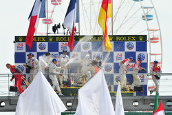 LMP1 podium: Champagne for all