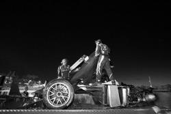 The wrecked #17 Pescarolo Sport Peugeot 908 after the heavy crash of Benoit Tréluyer