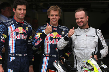Pole winner Sebastian Vettel, Red Bull Racing, second place Rubens Barrichello, Brawn GP, third place Mark Webber, Red Bull Racing