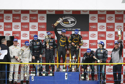 GT1 podium: class and overall winners Mike Hezemans and Anthony Kumpen, second place Michael Bartels and Andrea Bertolini, third place Miguel Ramos and Alex Müller
