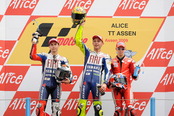 Podium: race winner Valentino Rossi, Fiat Yamaha Team, second place Jorge Lorenzo, Fiat Yamaha Team, third place Casey Stoner, Ducati Marlboro Team