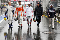 Nico Rosberg, Williams F1 Team, Adrian Sutil, Force India F1 Team, Timo Glock, Toyota F1 Team, Sebastian Vettel, Red Bull Racing, Nick Heidfeld, BMW Sauber F1 Team