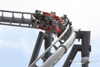 Michael Schumacher, Test Driver, Scuderia Ferrari, on the new rollercoaster