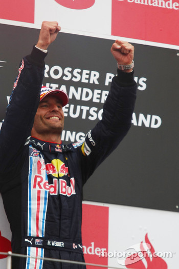 Podium: race winner Mark Webber, Red Bull Racing celebrates