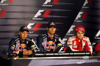 FIA press conference: race winner Mark Webber, Red Bull Racing, second place Sebastian Vettel, Red Bull Racing, and third place Felipe Massa, Scuderia Ferrari