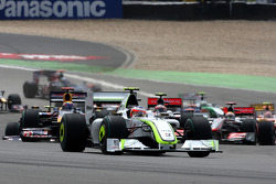 Rubens Barrichello, Brawn GP leads at the start