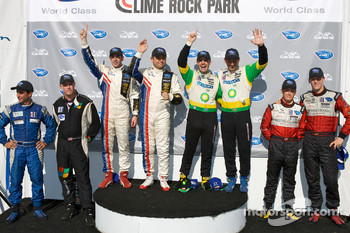 Class winners podium: GT3 challenge winners Wesley Hoaglund and Bob Faieta, P1 and overall winners Gil de Ferran and Simon Pagenaud, P2 winners Butch Leitzinger and Marino Franchitti, GT2 winners Jorg Bergmeister and Patrick Long