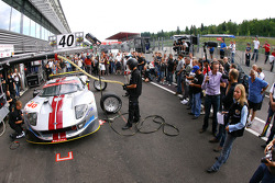Pit stop practice for #40 Marc VDS Racing Team Ford GT: Eric de Doncker, Bas Leinders, Renaud Kuppens
