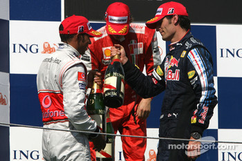 Podium: race winner Lewis Hamilton, McLaren Mercedes, second place Kimi Raikkonen, Scuderia Ferrari, third place Mark Webber, Red Bull Racing
