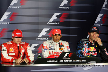 Post-race press conference: race winner Lewis Hamilton, McLaren Mercedes, second place Kimi Raikkonen, Scuderia Ferrari, third place Mark Webber, Red Bull Racing