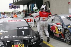 Race winner Timo Scheider, Audi Sport Team Abt Audi A4 DTM celebrates with Mattias Ekström, Audi Sport Team Abt Audi A4 DTM
