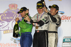 DP podium: Christophe Bouchut gives a champagne shower to Scott Tucker