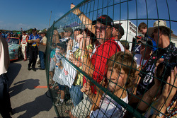 Fans watch Jacques Villeneuve